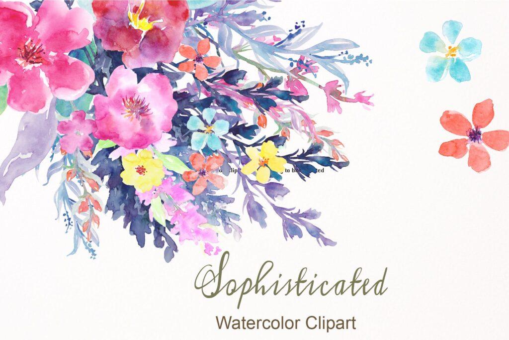 水彩花卉水彩剪纸紫色和橙色Watercolor Flower Collection Sophisticated插图