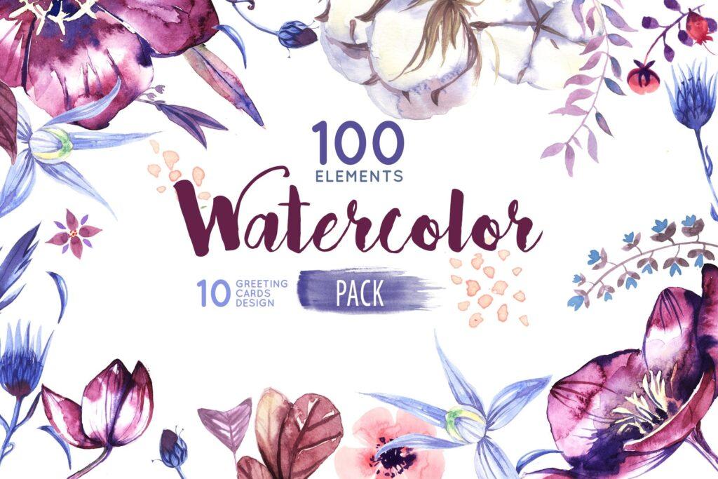 水彩花卉装饰版画装饰图案元素Watercolor Flowers Pack插图