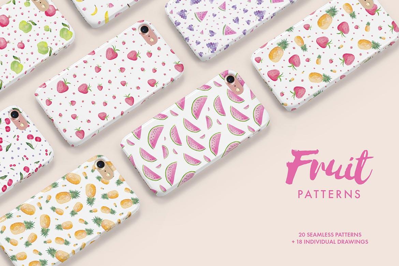 20个手绘水彩水果图案纹理花纹手机壳装饰图案纹理Watercolor Fruit Patterns插图