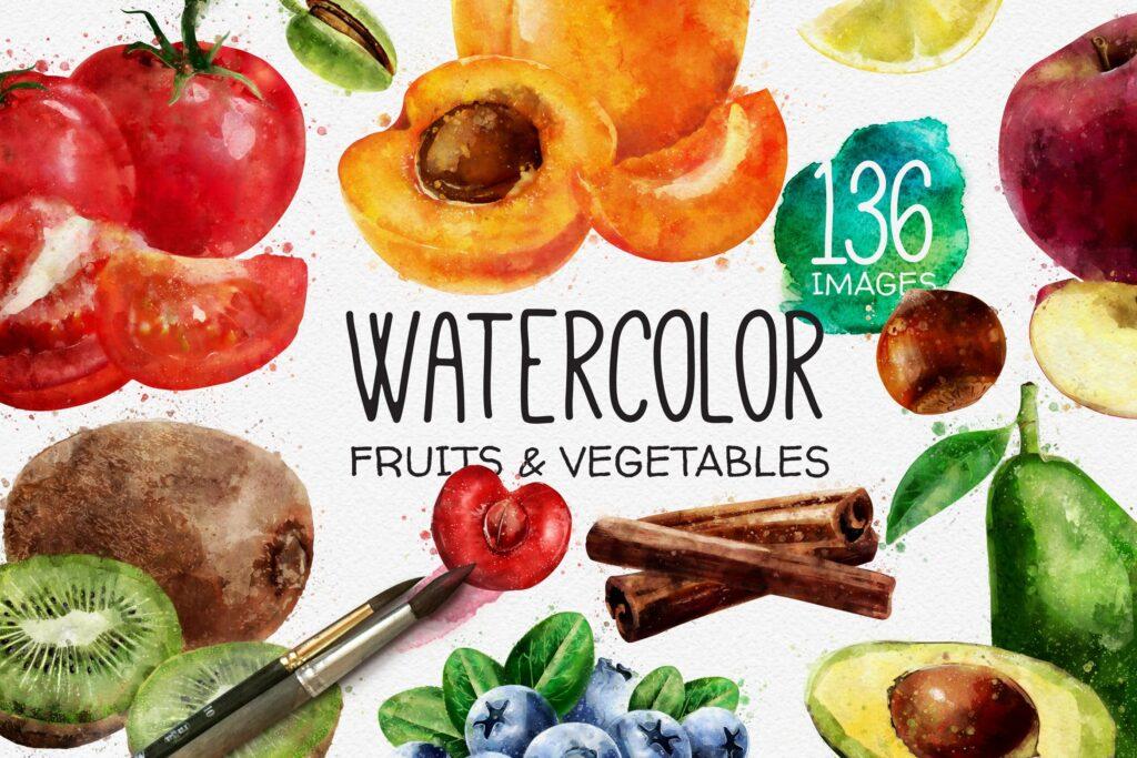 水果蔬菜系列主题水彩装饰图案下载Watercolor Fruits And Vegetables插图
