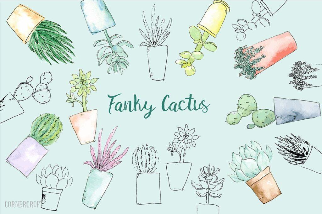 水彩手绘仙人掌多角度图案布艺手提袋装饰图案Watercolor Funky Cactus Vector插图