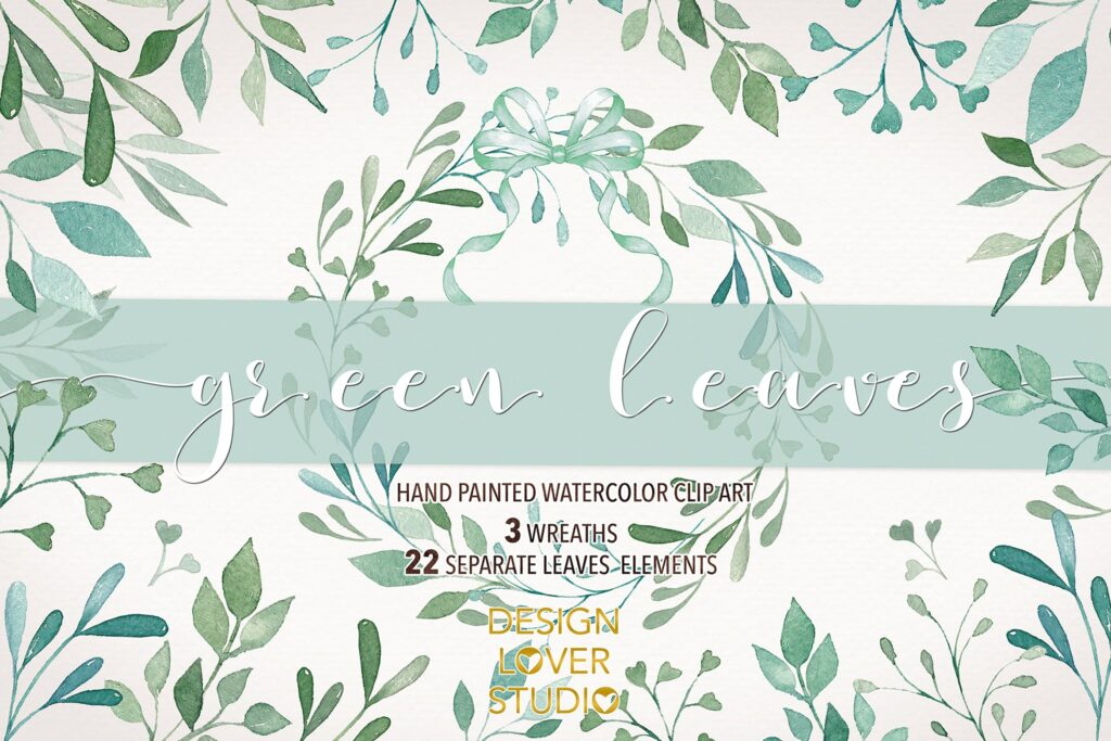 绿植装饰图案花纹相关元素下载Watercolor Green Leaves clip arts插图