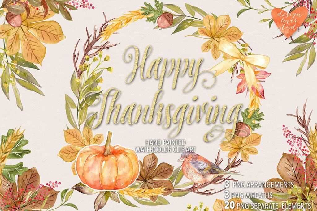 创意花卉花环装饰图案纹理Watercolor Happy Thanksgiving design插图