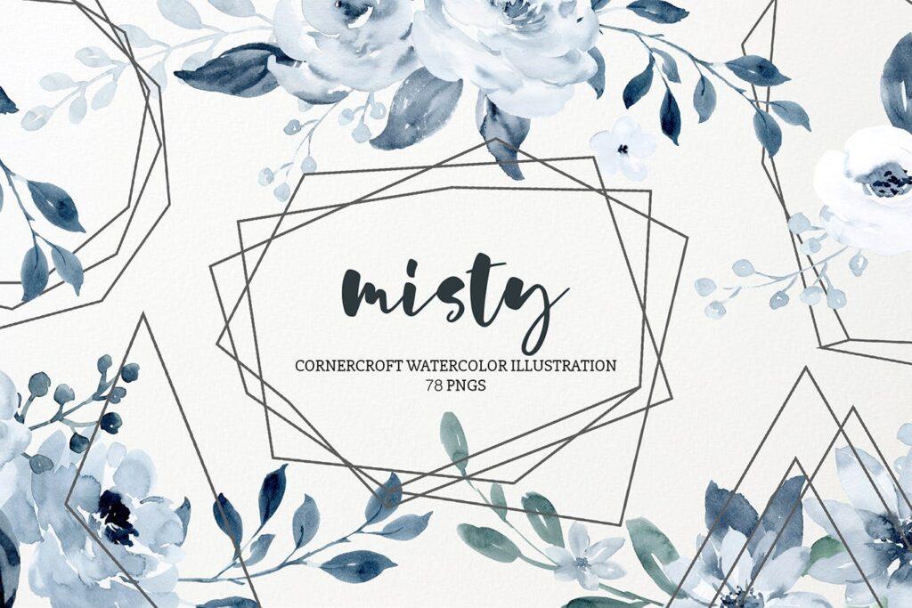 水彩画朦胧创意水墨画图案纹理装饰Watercolor Illustration Misty插图