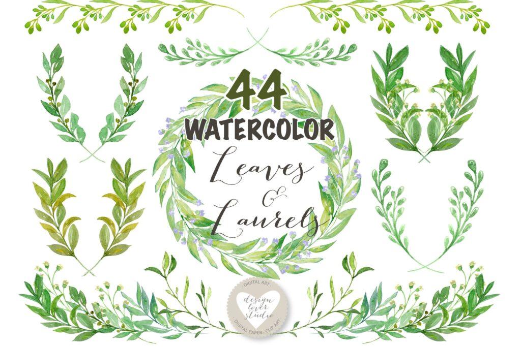 绿植花环婚礼邀请函装饰图案Watercolor Leaves Laurel and Wreath clip art插图