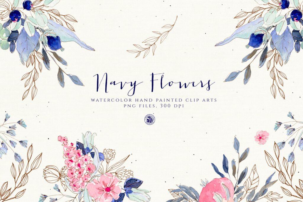 海军水彩手绘画花卉剪贴画装饰图案Watercolor Navy Flowers插图