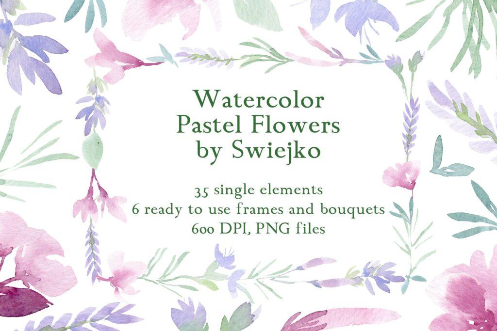 美丽/浪漫的35个手绘花卉和树叶装饰图案Watercolor Pastel Flowers插图