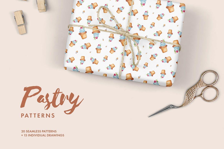 20个手绘水彩糕点创意装饰图案元素下载Watercolor Pastry Patterns插图
