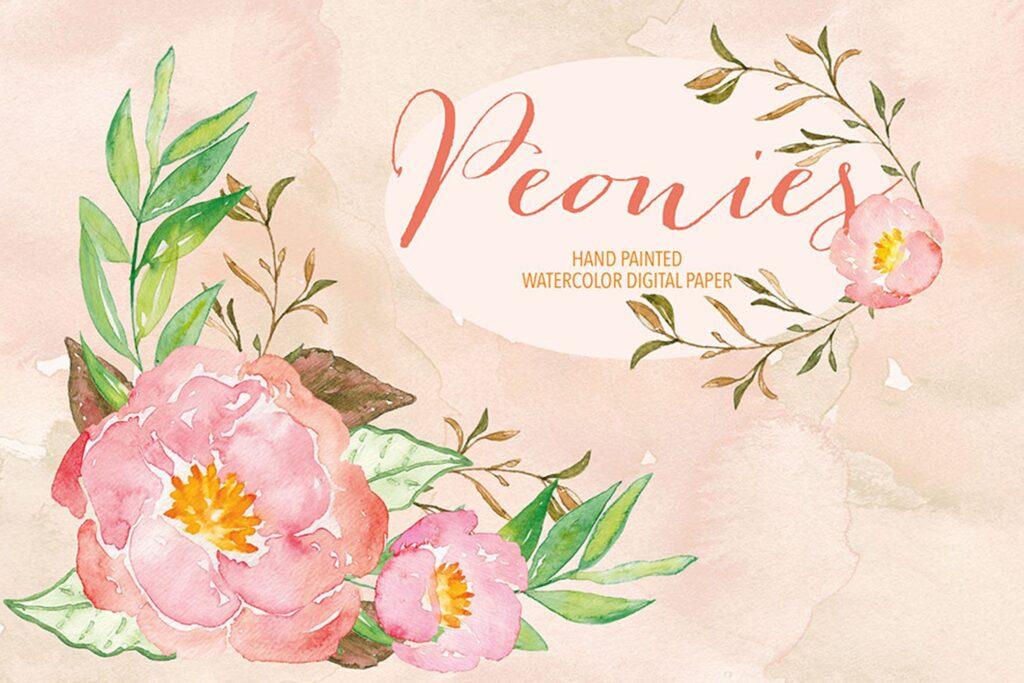 水彩牡丹剪纸婚礼装饰图案Watercolor Peony clipart插图