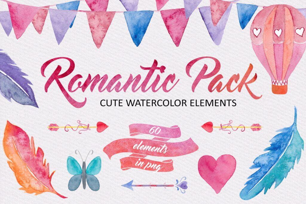 60个水彩纹理材质素材下载Watercolor Romantic Pack插图