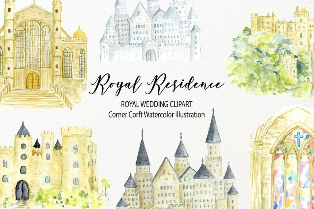 皇家住宅水彩插图皇家婚礼场景剪纸装饰花纹Watercolor Royal Residence Illustration插图