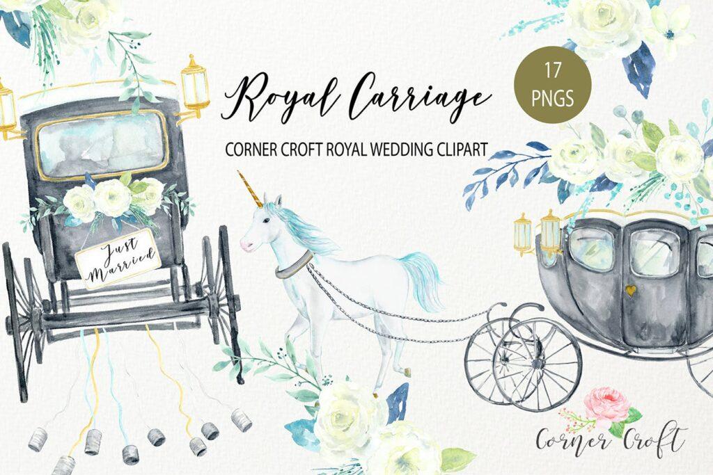 水彩皇家婚礼剪贴画皇家马车剪贴画主题装饰图案Watercolor Royal Wedding Carriage Clipart插图