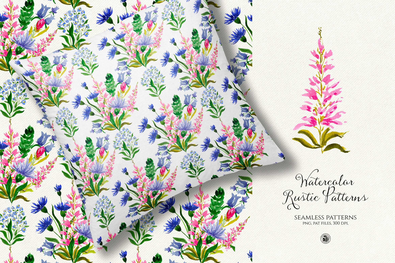 水彩的乡村模式手绘水彩花卉图案Watercolor Rustic Patterns插图