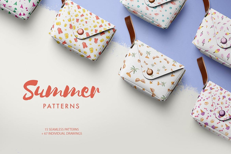 手绘水彩夏日元素多用途图素材下载Watercolor Summer Patterns插图