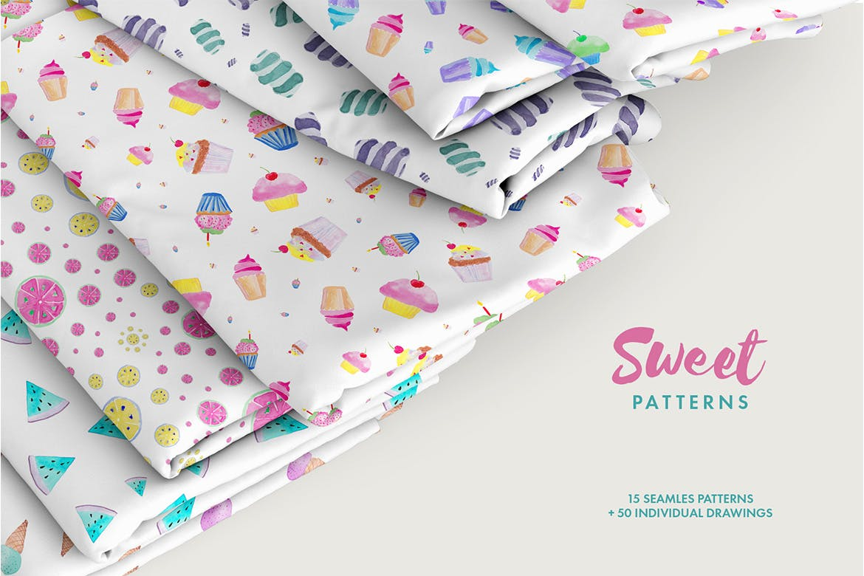 15个手绘水彩糖果创意图案素花纹Watercolor Sweet Patterns插图