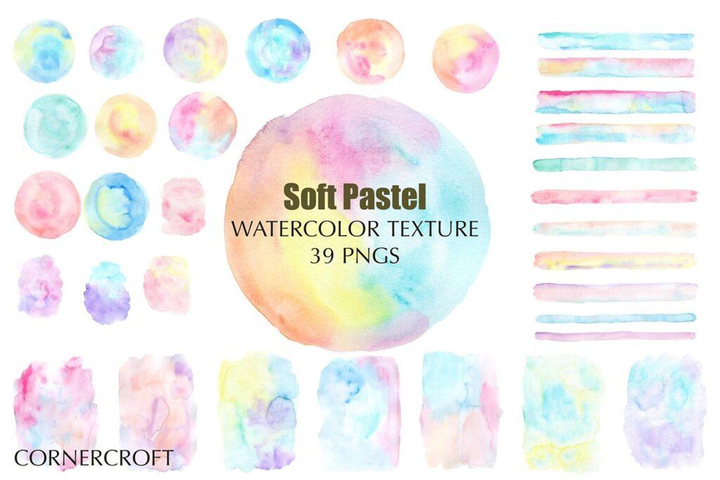 水彩笔触渐变纹理材质装饰Watercolor Texture Soft Pastel插图