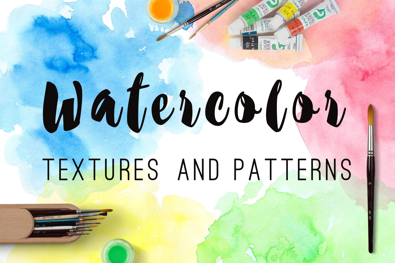 水彩墨迹笔触装饰元素下载Watercolor Textures and Patterns插图