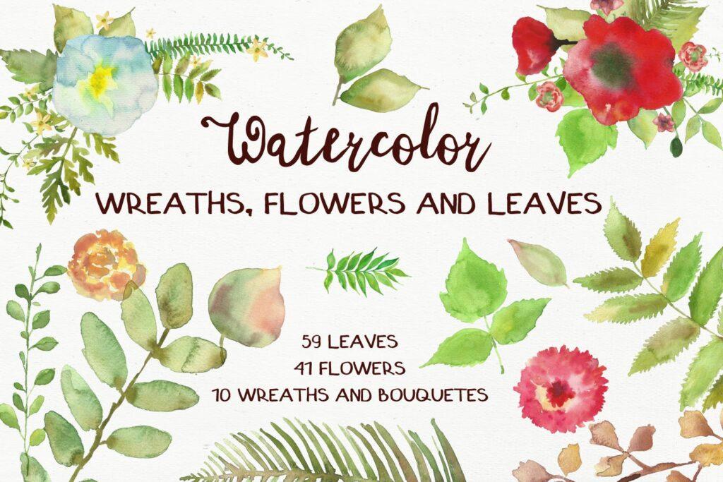 水彩花朵树叶和花环主题元素装饰图案Watercolor Wreathes and Bouquets插图