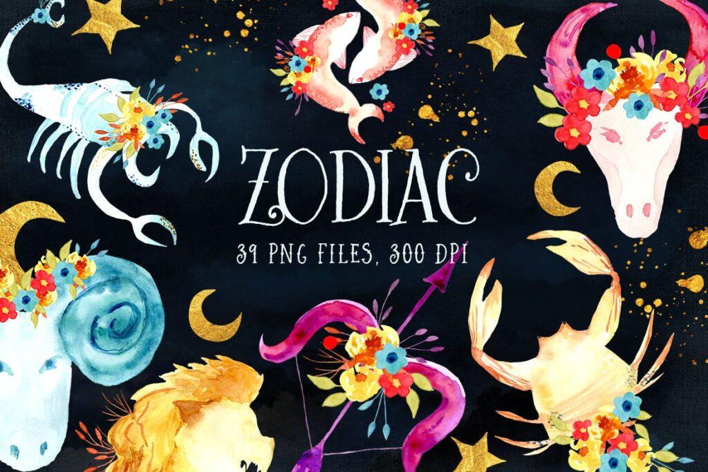 十二生肖水彩手工剪纸Watercolor Zodiac插图