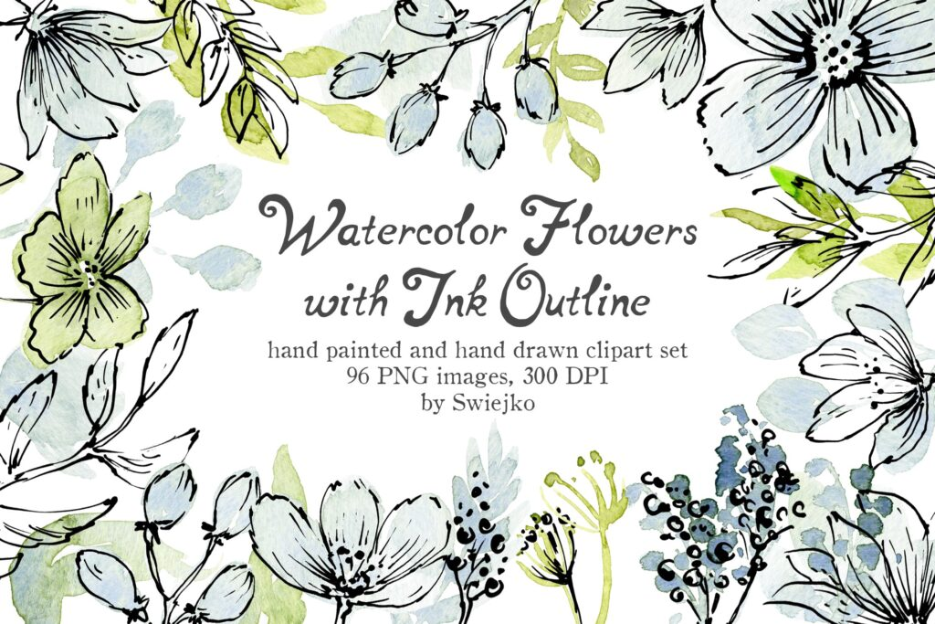 96副手绘花卉大合集及水墨风图案下载Watercolor and Ink flowers插图