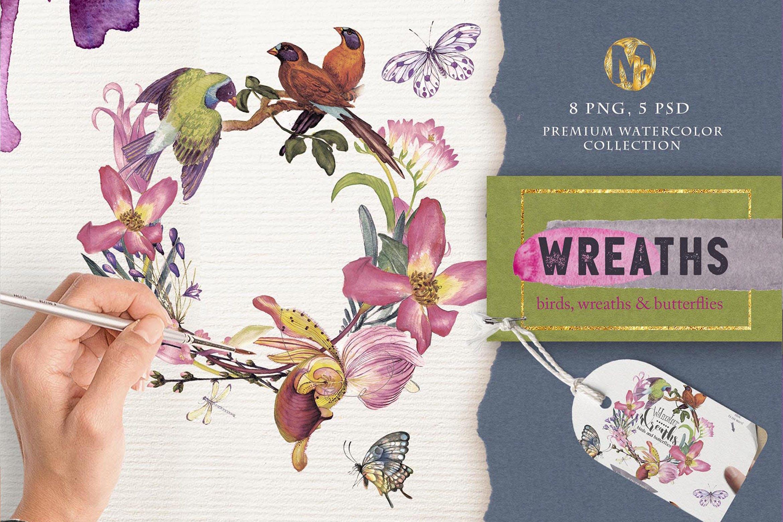 婚礼邀请函自然花环创意图案纹理装饰Watercolor wreaths psd png插图