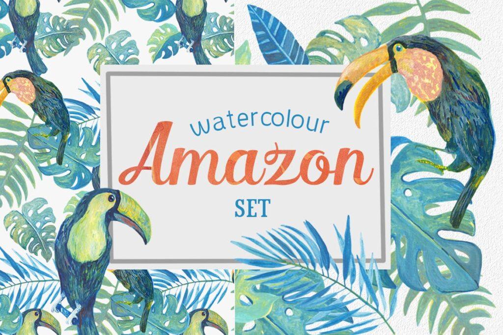 水彩画热带森林绿植绘画元素素材下载Watercolour Amazon Clipart插图