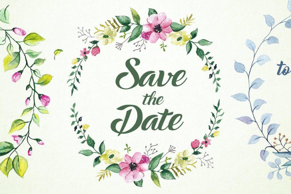 婚礼徽章主题系列花环装饰图案Wedding Badges插图