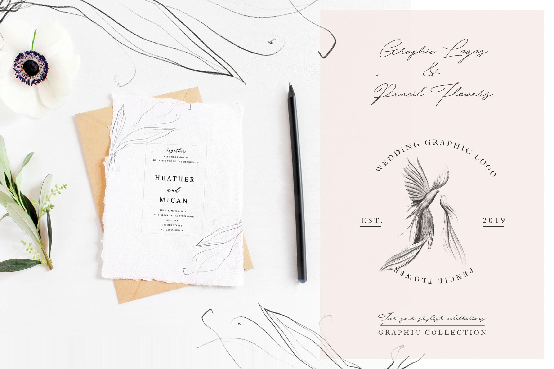 优秀的石墨仿铅笔图形组图案花纹素材Wedding Graphic Logo Pencil Flower插图