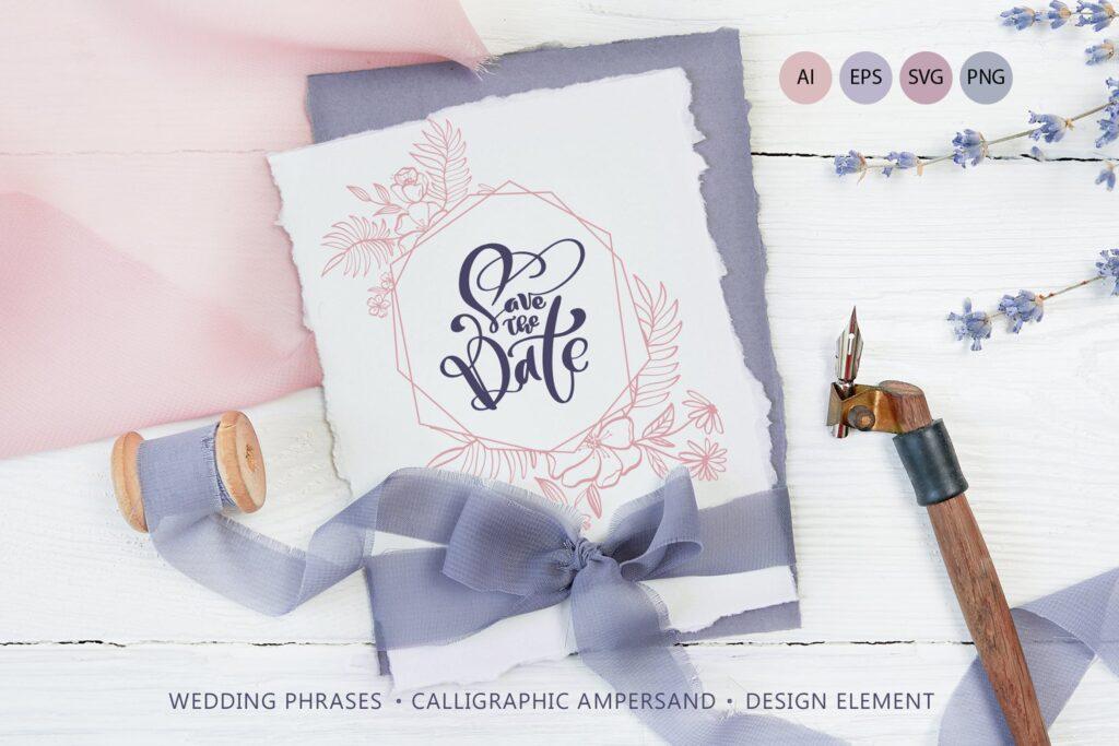 简单和经典婚礼邀请函主题装饰图案Wedding Vector Calligraphy插图