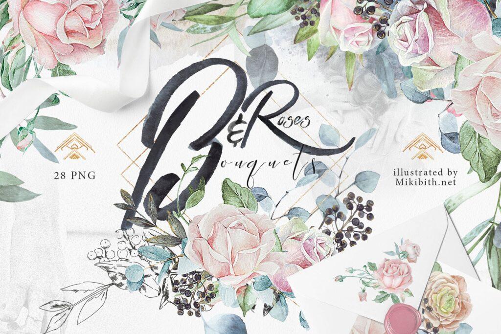 婚礼玫瑰花束创意图案合集邀请函相框装饰图案Wedding roses bouquets Artarian vol22插图
