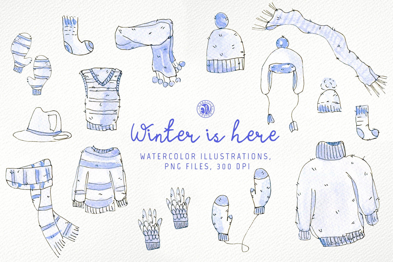 冬季手绘元素插图品牌装饰元素素材Winter is here插图