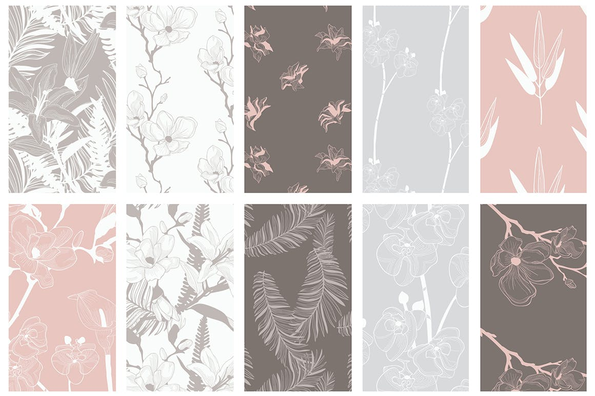 35个植物矢量图案装饰展示效果35 Patterns 8 Instagram Templates插图(8)
