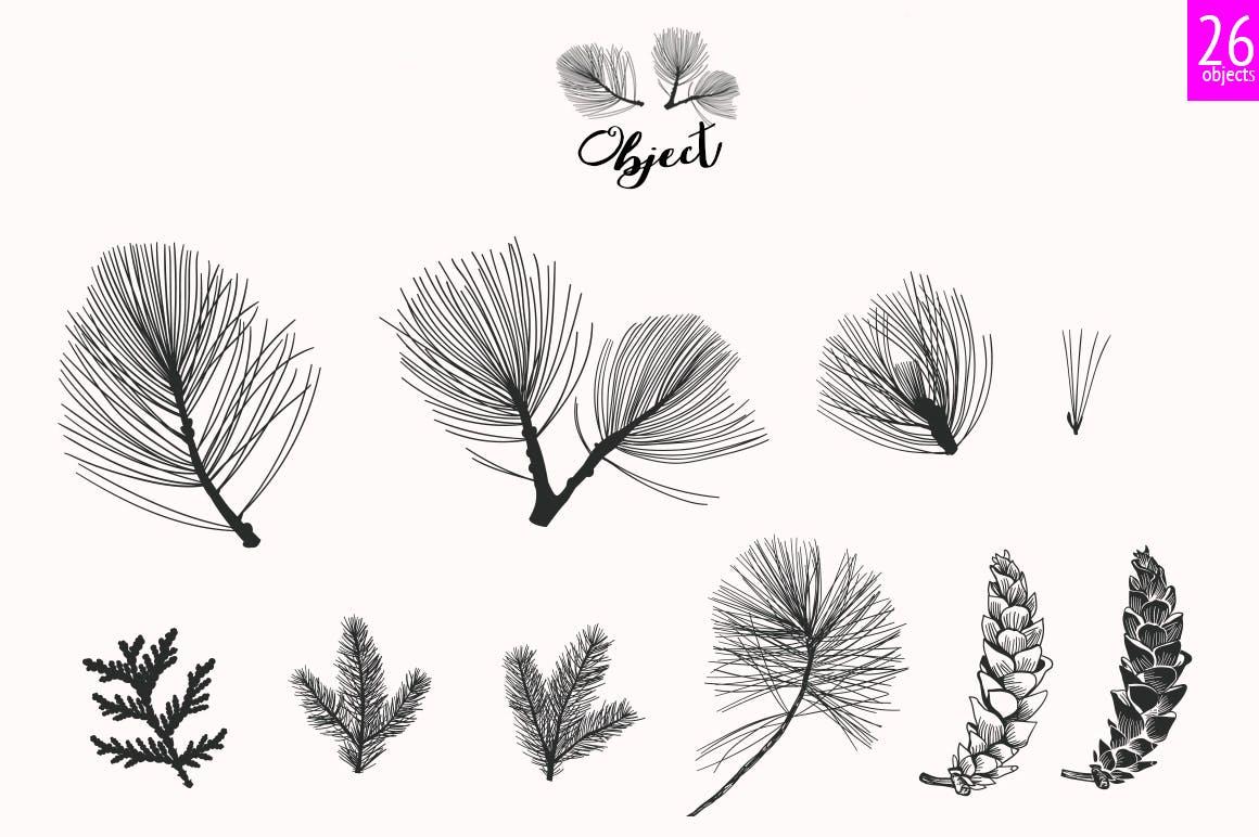 松树/刺柏/落叶创意图案装饰模板下载44 Winter patterns set插图(8)