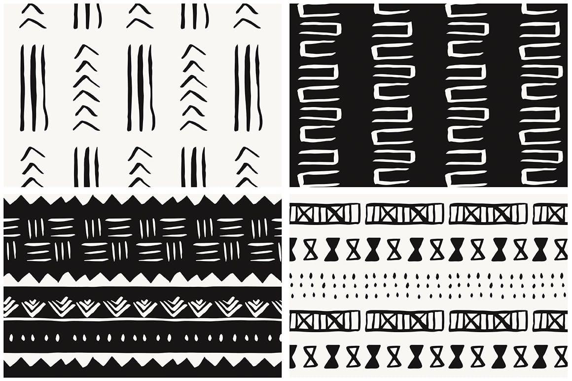 20个美丽的非洲泥布矢量图案集合装饰图案花纹插图(9)
