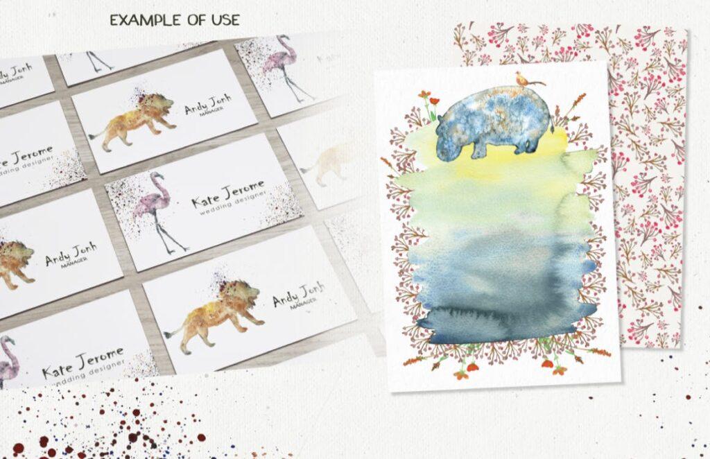 45个水彩画动物剪影的合集Animal Zone插图(7)