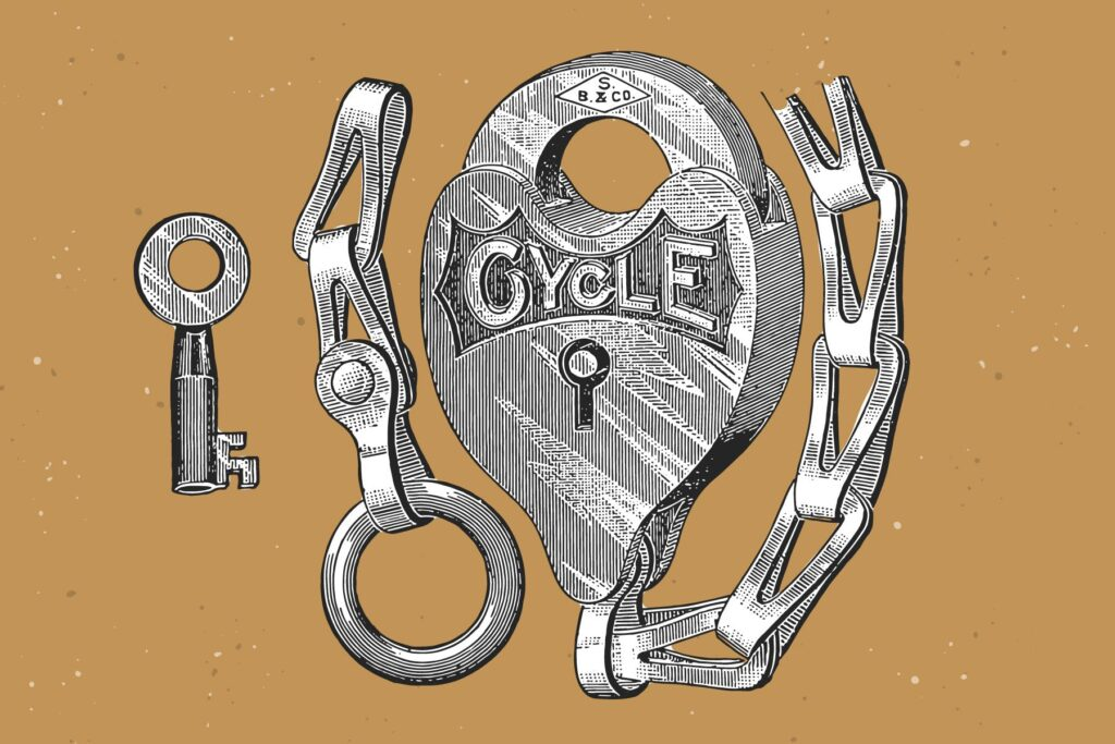 自行车和自行车配件的经典插图合Bicycles Vintage Illustration Set插图(9)