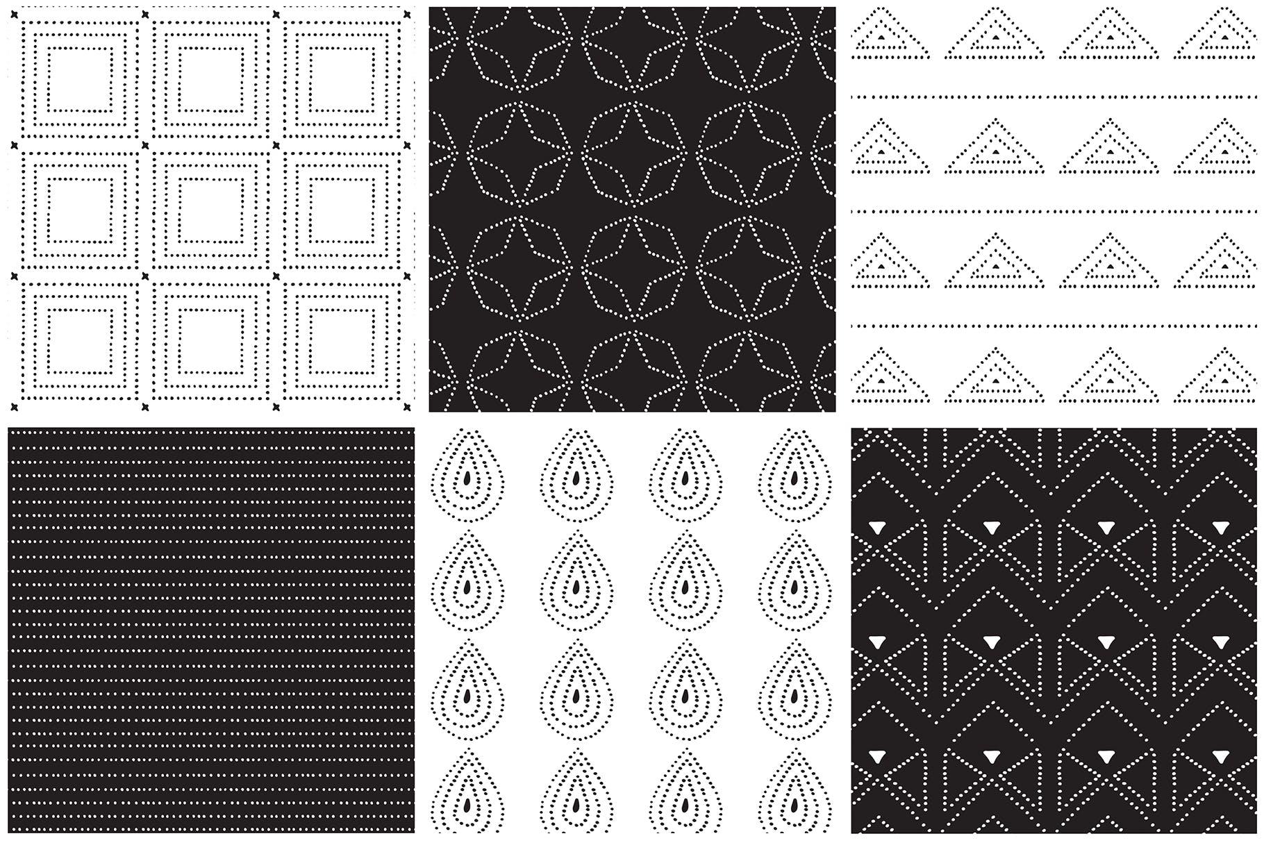 几何形状手工制作图案纹理素材下载Dotted Vector Patterns Tiles插图(6)