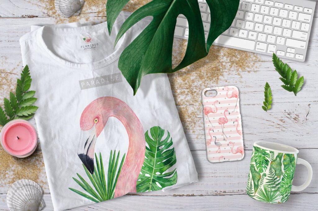 火烈鸟热带树叶和花朵主题装饰元素纹理花纹装饰图案FLAMINGO PARADISE watercolor set插图(9)