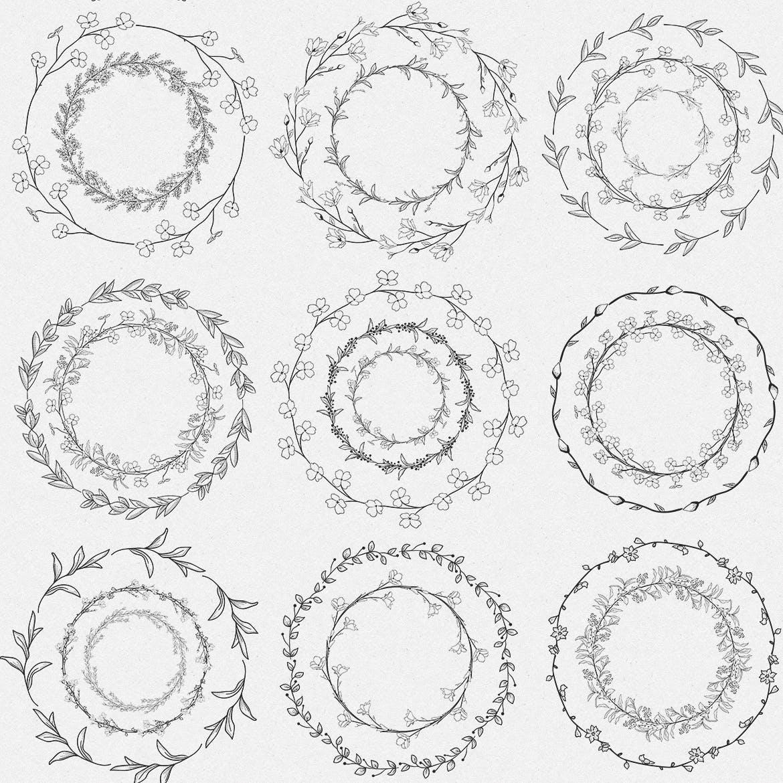 手绘乡村花卉涂鸦设计元素Greenery Collection167 Elements插图(8)