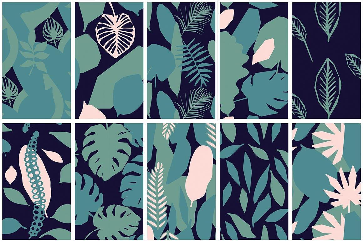 野外40个丛林元素矢量图案元素下载Jungle Patterns Collection插图(9)