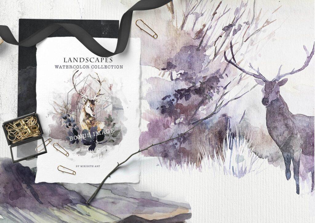 水彩画的风景与山脉/田野/河流Landscapes watercolor插图(9)