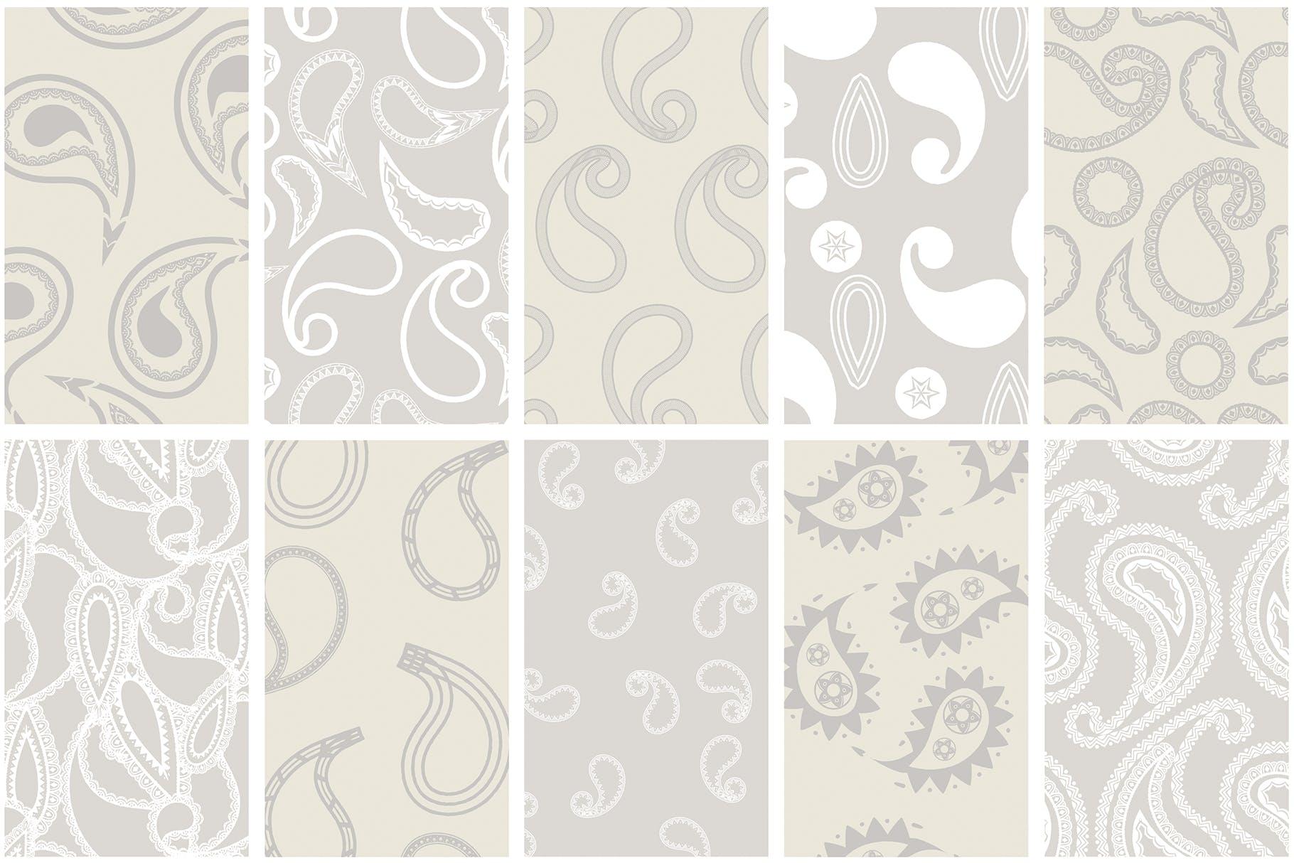 40个现代经典装饰花纹组合矢量图案Modern Paisley Seamless Patterns插图(8)