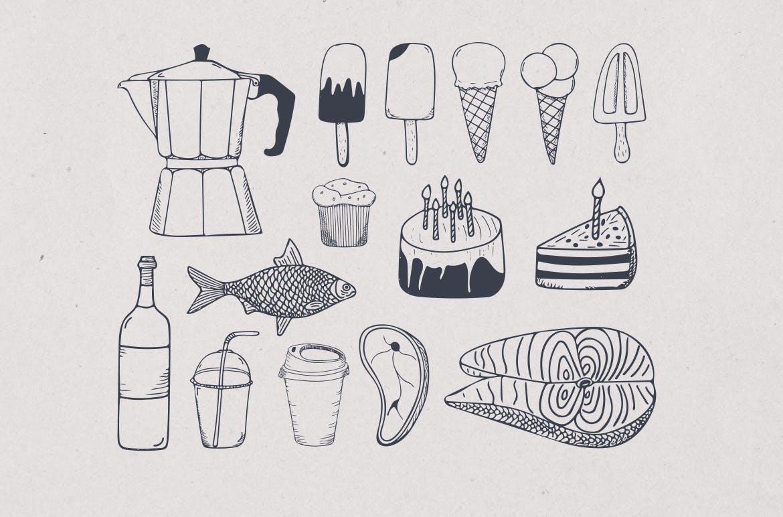 美食餐饮品牌宣传手绘矢量图案素材Ratatouille Sketched插图(9)