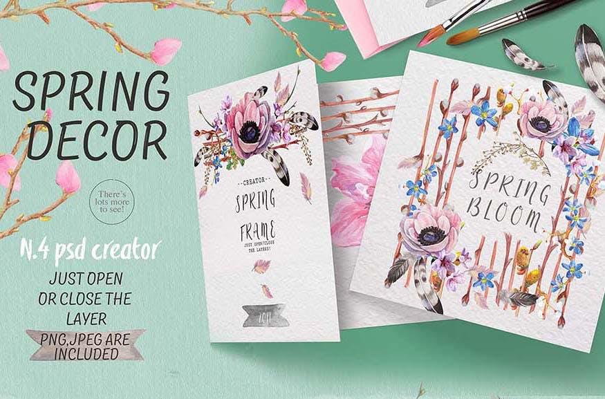 手绘水彩花环装饰图案纹理下载Spring bloom set 80 PNG插图(9)