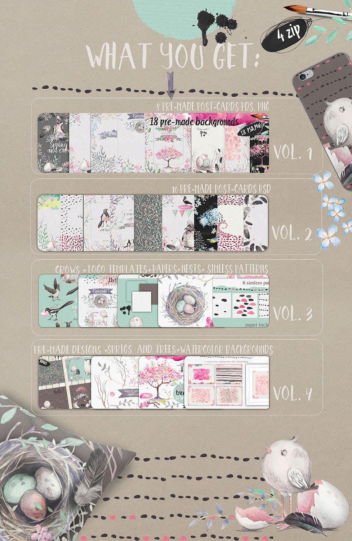 春天与乌鸦艺术创作作品集图案纹理素材下载Spring crows bundle插图(9)