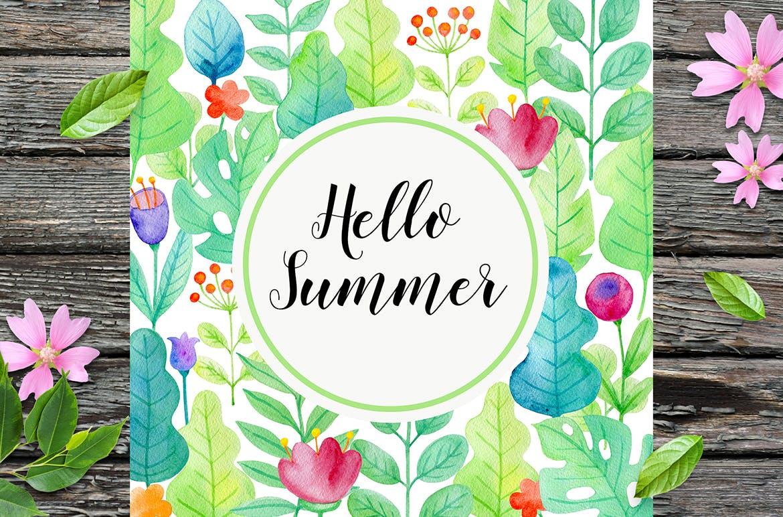 手绘水彩花卉图形元素装饰图案纹理花纹素材Summer Garden Watercolor Design Kit插图(9)