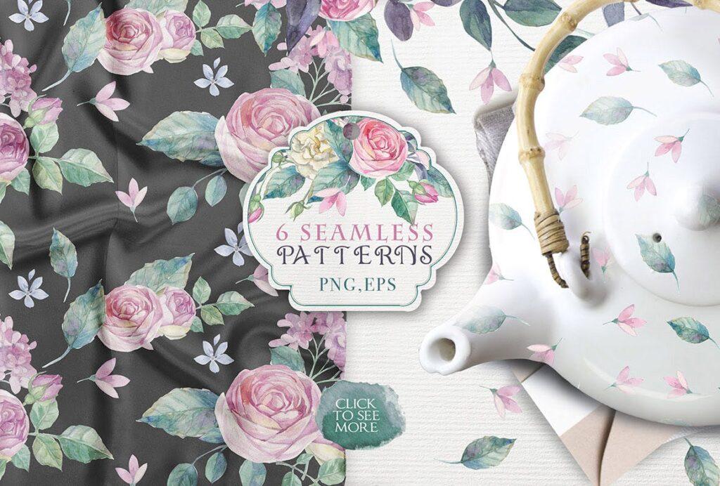 企业品牌装饰图案花卉/花圈/装饰图案The garden roses插图(9)