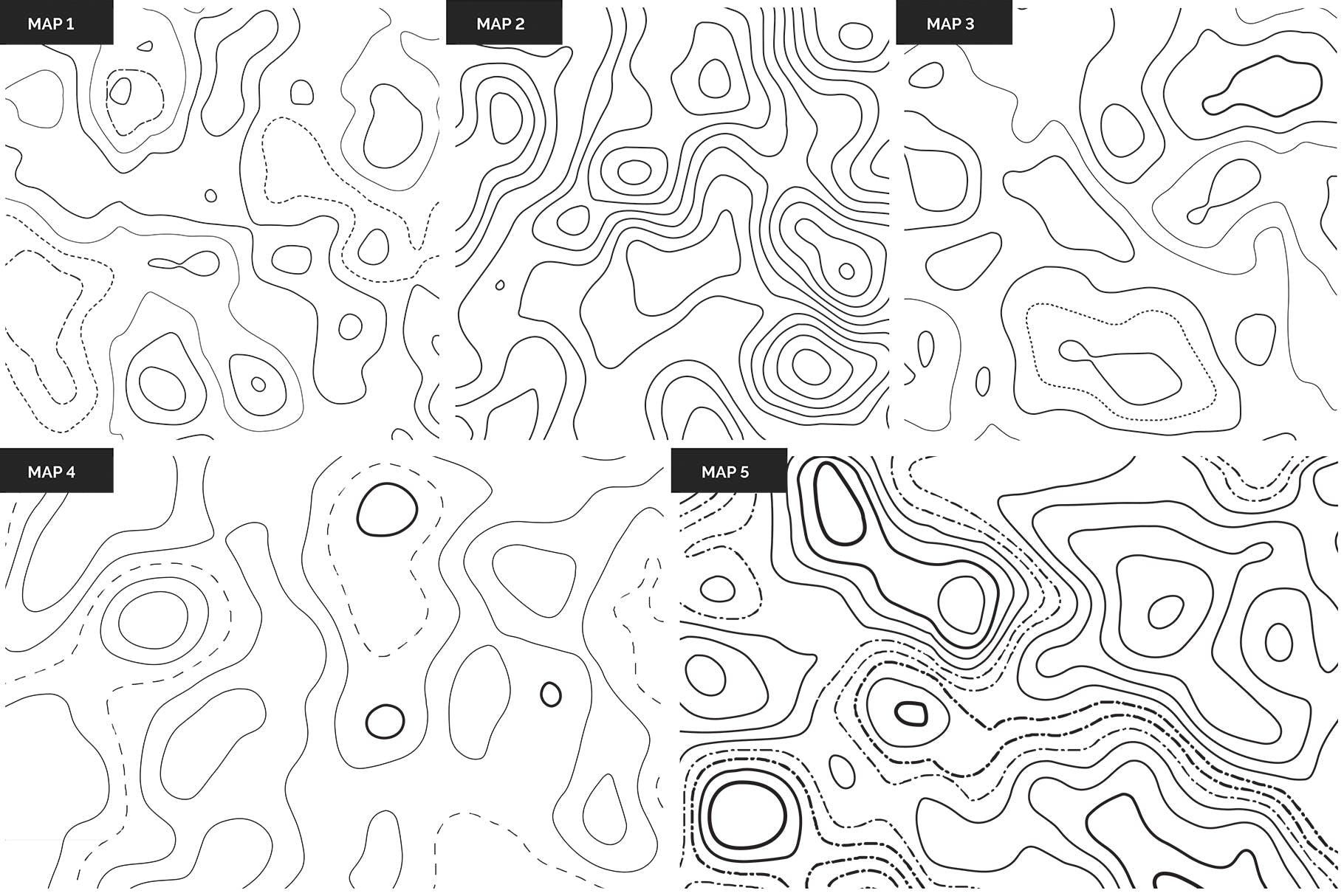 地理纹理地形图盆地素材Topographic Maps Patterns插图(9)
