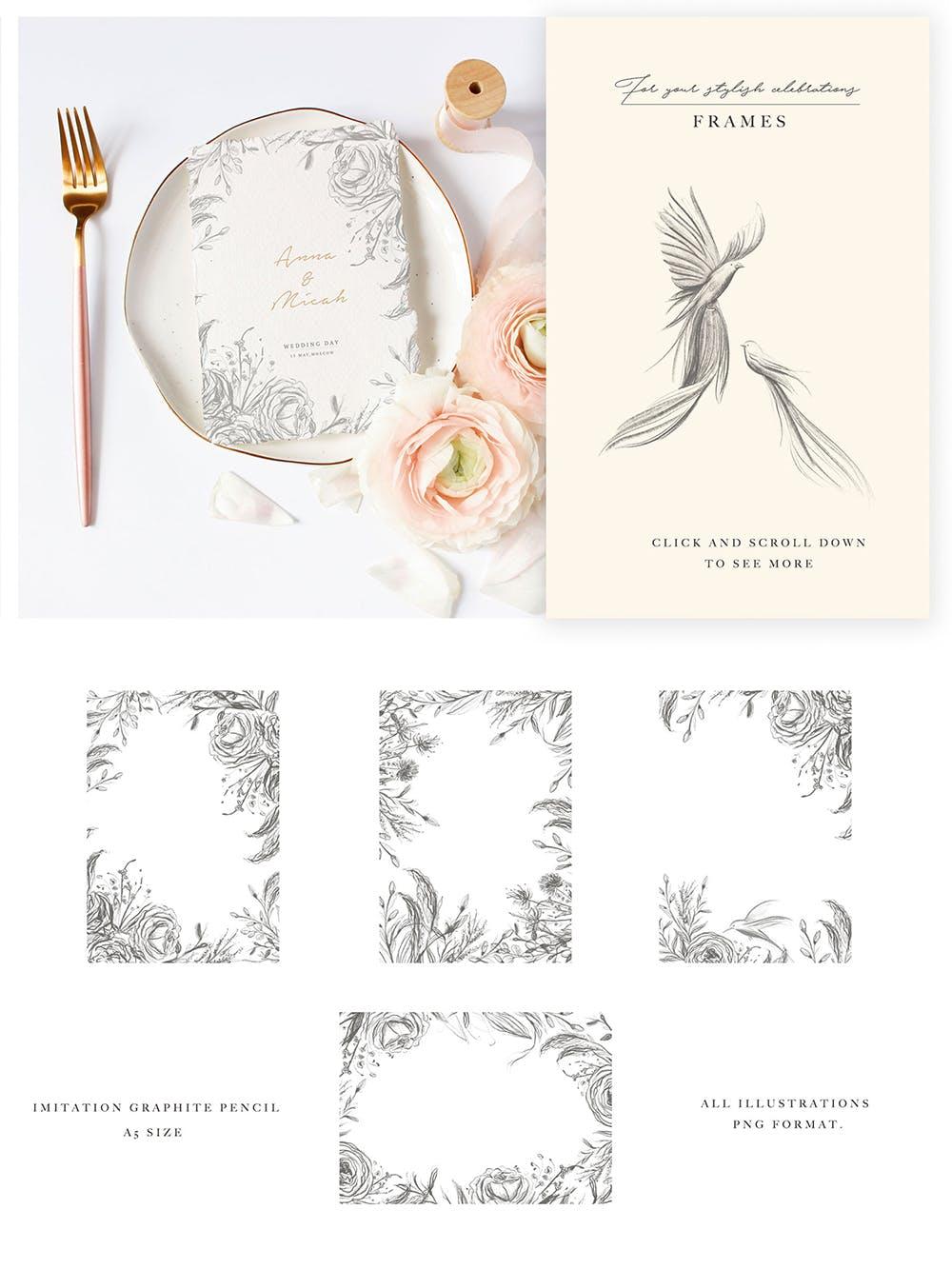 优秀的石墨仿铅笔图形组图案花纹素材Wedding Graphic Logo Pencil Flower插图(8)