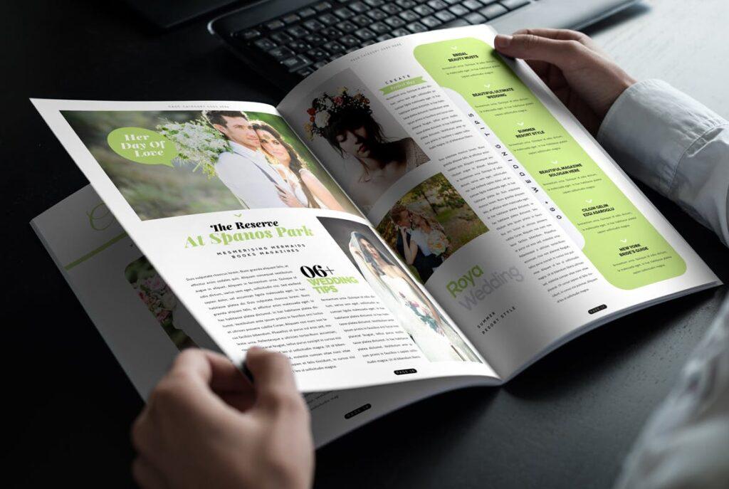 文艺精致版式环保主题婚礼杂志模板Wedding Magazine Template插图(8)